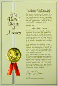 Letters Patent issued by the PTO to the inventor of a patent